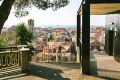 Horizon view of old spanish town. Horizon view of old spanish town Malgrat de Mar, roof tops, cityscape on coast of Mediterranean sea, Costa Brava, Maresme Stock Photos