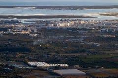 Horizon view of olhao coastline royalty free stock photo