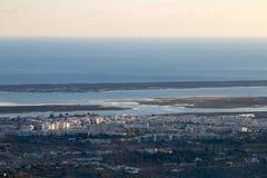Horizon view of olhao coastline stock image