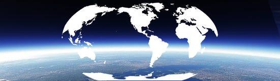 Horizon and world banner stock image