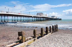 Horizonal of Worthing pier and beach. Worthing Pier, extending into the England Channel Stock Images