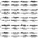 Horizonnen van de steden van Canada, van Mexico, van China, van Japan en van Australië Stock Foto