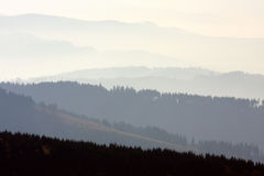 Horizons. Mist over the mountains. Autumn landscape stock photos