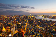 Horizons de Manhattan au coucher du soleil photo libre de droits