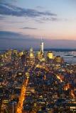 Horizons de Manhattan au coucher du soleil photo stock