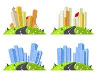 Horizons de villes de vecteur réglés illustration libre de droits
