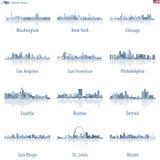 Horizons de villes des Etats-Unis dans la palette de couleurs bleu-clair avec des réflexions de l'eau illustration stock