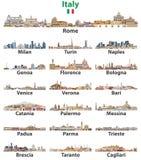 Horizons de villes de villes de l'Italie d'isolement sur le fond blanc Illustration détaillée élevée de vecteur illustration libre de droits
