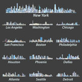 Horizons des plus grandes villes des Etats-Unis dans les teintes de la palette de couleurs bleue illustration de vecteur