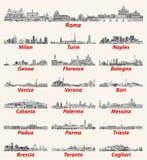 Horizons italiens de villes dans la palette de couleurs noire et blanche Illustration d?taill?e ?lev?e de vecteur illustration libre de droits