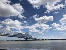 Horizons. Water under horizons bridge clouds stock photography