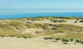 Horizont landscape-water and sand. And long line other side Royalty Free Stock Images