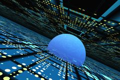 Horizont-Perspektive über abstraktem elektronischem Rasterfeld lizenzfreie abbildung