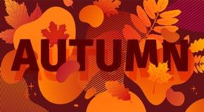 Horizontaal abstract geometrisch ontwerp voor de herfstbevordering De banner van de dalingsaanbieding met vector vloeibare vorm e stock illustratie