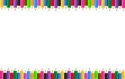 Horizontaal affichekader met kleurpotloden op de randen op de achtergrond Vector illustratie royalty-vrije illustratie