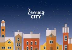 Horizontaal bannermalplaatje met het stedelijke landschap van de avondwinter met stadsstraat, voorgevels van mooie gebouwen en royalty-vrije illustratie