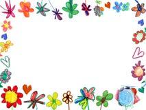 Horizontaal bloemenframe, kindillustratie Royalty-vrije Stock Afbeelding