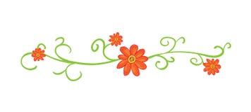 Horizontaal bloemenvignet met rode bloemen Royalty-vrije Stock Foto's