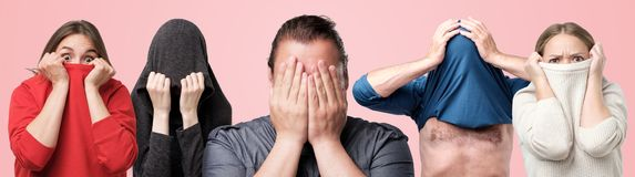 Horizontaal collageportret van verscheidene mannen en vrouwen die hun gezichten met handen of kleren verbergen royalty-vrije stock foto's