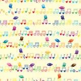 Horizontaal de vogel naadloos patroon van de muzieknota vector illustratie