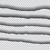 Horizontaal gescheurde randen van document met schaduw, geïsoleerde vector Royalty-vrije Stock Fotografie