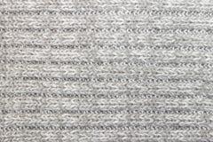 Horizontaal Gray Knitting of het Gebreide Patroon Backg van de Stoffentextuur stock foto