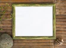 Horizontaal houten kader met de witte achtergrond van de paginafoto Royalty-vrije Stock Fotografie