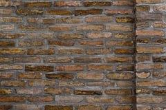 Horizontaal Patroon Als achtergrond van Oude Bakstenen muurtextuur Royalty-vrije Stock Foto's