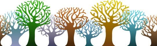 Horizontaal patroon van kleurrijke bomen Stock Foto's