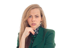 Horizontaal portret van seksuele jonge blonden die die in de Studio op een witte achtergrond stellen Royalty-vrije Stock Fotografie