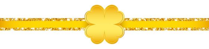 Horizontaal schitter Lint het Gouden Klaverblad glanst royalty-vrije illustratie