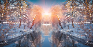 Horizontaal weggeknipt de winterlandschap in het stadspark Royalty-vrije Stock Foto's