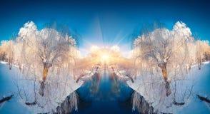 Horizontaal weggeknipt de winterlandschap in het stadspark Stock Afbeelding