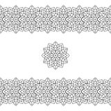 Horizontaal zwart naadloos etnisch patroon of stammenpatroon Stock Foto