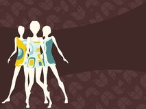 Horizontal 1960's retro banner in dark colors. Mod banner with female silhouettes. Graphics are grouped and in several layers for easy editing. The file can be vector illustration