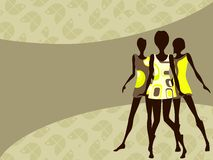Horizontal 1960's retro banner in light colors. Mod banner with female silhouettes. Graphics are grouped and in several layers for easy editing. The file can be royalty free illustration