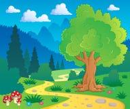 Horizontal 8 de forêt de dessin animé Images stock