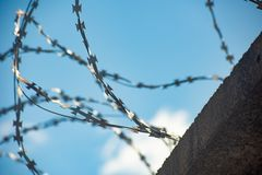 Horizontal abstract background with barbed wire. Soft focus, fence, border, wall, protection, security, freedom, metal, prison, barrier, danger, war, pattern stock image