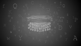 Horizontal abstract background with typewriter and letters aroun Royalty Free Stock Photos