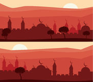 Horizontal abstract banners of arab city with palm trees at sunset. Royalty Free Stock Photos