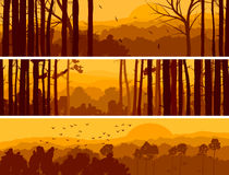 Horizontal banners of hills deciduous wood. Horizontal abstract banners of hills of deciduous wood with birds in orange tone (sunset royalty free illustration