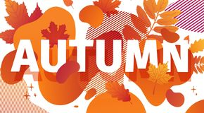 Horizontal abstract geometric design for autumn promotion. Fall offer banner with vector liquid form and decor maple royalty free illustration