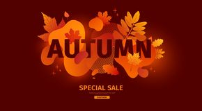 Horizontal abstract geometric design for autumn promotion. Fall offer banner with vector liquid form and decor maple vector illustration