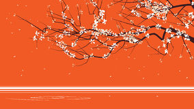 Horizontal abstract illustration drawing of blossoming tree bran. Ch on orange Royalty Free Illustration
