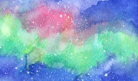 Horizontal abstract watercolor northern lights. With pink shades on blue night skies Stock Photo