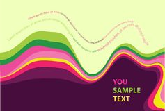 Horizontal abstract wave multicolored design. With text Royalty Free Stock Images
