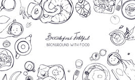 Horizontal advertising banner on breakfast theme. Backdrop with drink, pancakes, sandwiches, eggs, croissants and fruits. Top view. black and white vector hand Stock Photos