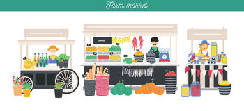 Horizontal advertising banner on farm market theme, organic food. Different vendors, local shop. Farmers sell fresh. Products, vegetables, fruits, bread, drink Stock Image