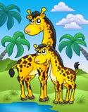 Horizontal africain avec des giraffes Photo stock