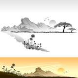 Horizontal africain de la savane Image libre de droits